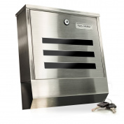 TÄGA TG-2210D-HM Design letterbox with newspaper holder + Stainless + Lockable (2 keys included) + Easy installation (mounting material included) + Colour