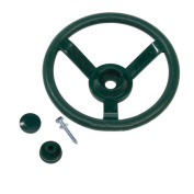 Garden Games Toy Steering Wheel for Children's Climbing Frame or Playhouse (Green) with Fixing Kit