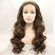 Heat Resistant Fibre Hair mermaid brown colour lose body wave Synthetic lace front wig for women.
