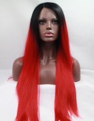 CY Hair Beauty Synthetic Lace Front Wigs Black Ombre Red Cheap Heat Resistant Natural Straight 2 Tones Fibre Hair