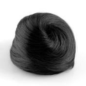 Fashion Man Women Synthetic Scrunchie Hair Bun Cover Hairpiece Clip in Hair Extension, Black