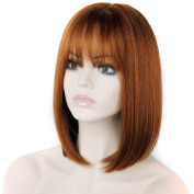 DENIYA Red Brown Bob Wigs Short Straight Wigs with Bangs for Women
