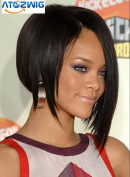 ATOZWIG@Shining Medium Straight Black African American Lace Wigs for Women