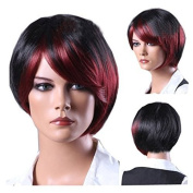 MELADY®(Free Cap) Fashion Casual Red-Black Short Straight Synthetic Women Girls Lady Hair Replacement Wigs