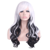 """Rise World 26 """" 65 cm Women's Long Wavy Curly Oblique Bang Full Hair Wig Two Tone White Root to Black Ombre"""