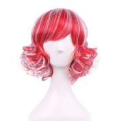 """Rise World 14 """" 35 cm Women's Short Curly Oblique Bang Full Hair Wig Two Tone White Root to Red Ombre"""