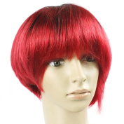 Mixed Colour Short Straight Cosplay Costume Wig (Black/ Red) Cheap Ombre Peruvian Short Bob Wigs Machine Made 20cm Straight Glueless Short Human Hair Party Wig For Women