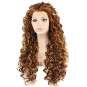 Mxangel Long Heat Resistant Synthetic Hair Highlight Auburn Celebrity . Curly Lace Front Wig Natural