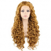 Mxangel Long Heat Resistant Synthetic Hair Blond Celebrity . Curly Lace Front Wig Natural