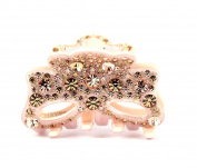 CHRYSE AUSTRIAN RHINESTONE HAIR CLAMP CLAW CLIP BARRETTE PONY HOLDER C701 PINK