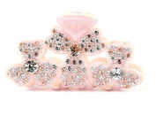 CHRYSE AUSTRIAN RHINESTONE HAIR CLAMP CLAW CLIP BARRETTE PONY HOLDER C716 NUDE
