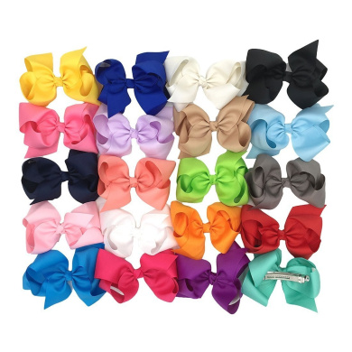XIMA 15cm Bow with Barrette Clips for Girls Baby Ribbon Hair Bows,Hair Clips (20pcs-With barrette)