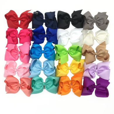 XIMA 20pcs 13cm Big Hair Bows without Clips for Girls and Women DIY Bows Clips (20pcs-without clip)