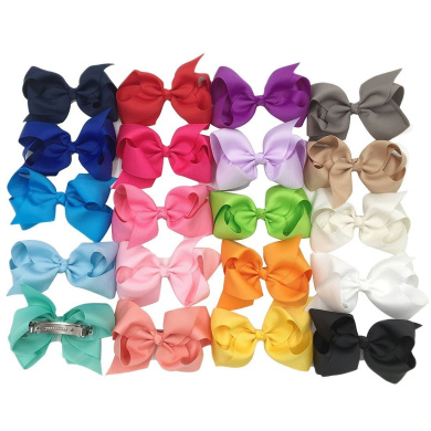 XIMA 20pcs 10cm baby ribbon hair bows for DIY,bows hair clips for girls (20pcs-With barrette)