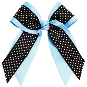 Victory Bows Swiss Dot Multilayer Grosgrain Hair Bow- The Mariah Black Swiss Dot and Light Blue- Made in the USA Pony Tail Band