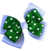 Victory Bows Polka Dot Double Quad Grosgrain Hair Bow- The Siena Marie White and Kelly Green- Made in the USA Pony Tail Band