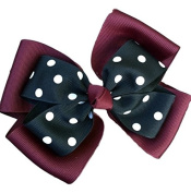 Victory Bows Polka Dot Double Quad Grosgrain Hair Bow- The Siena Marie Maroon and Black- Made in the USA French Clip