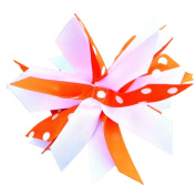 Victory Bows Spiky Pom Pom Polka Dot Grosgrain Hair Bow- The Sandra Orange Polka Dot and White- Made in the USA Pony Tail Band