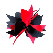 Victory Bows Spiky Pom Pom Grosgrain Hair Bow- The Sandra Red and Black- Made in the USA PFrench Clip