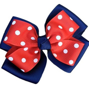 Victory Bows Polka Dot Double Quad Grosgrain Hair Bow- The Siena Marie Navy Blue and Red- Made in the USA French Clip
