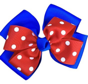 Victory Bows Polka Dot Double Quad Grosgrain Hair Bow- The Siena Marie Royal Blue and Red- Made in the USA Pony Tail Band