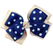 Victory Bows Polka Dot Double Quad Grosgrain Hair Bow- The Siena Marie Khaki and Navy Blue- Made in the USA Pony Tail Band