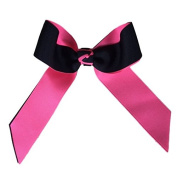Victory Bows Two Colour Grosgrain Hair Bow- The Juliet Black and Neon Pink- Made in the USA French Clip