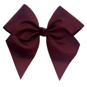 Victory Bows Large 18cm Maroon Hair Bow made with 7.6cm Grosgrain Ribbon- The Anna-Made in USA French Clip