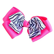 Victory Bows Zebra Double Quad Grosgrain Hair Bow- The Siena Marie Zebra Hot Pink- Made in the USA Pony Tail Band