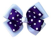 Victory Bows Polka Dot Double Quad Grosgrain Hair Bow- The Siena Marie White and Purple- Made in the USA French Clip