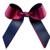 Victory Bows Two Colour Grosgrain Hair Bow- The Juliet Maroon and Black- Made in the USA Pony Tail Band