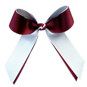 Victory Bows Two Colour Grosgrain Hair Bow- The Juliet Maroon and White- Made in the USA Pony Tail Band