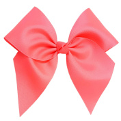 Victory Bows Large 18cm Neon Pink Hair Bow made with 7.6cm Grosgrain Ribbon- The Anna-Made in USA Pony Tail Band