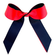 Victory Bows Two Colour Grosgrain Hair Bow- The Juliet Red and Black Made in the USA Pony Tail Band