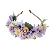 flower Wreath Headband Floral Crown Garland Halo with Floral Wrist Band for Wedding Festivals Women Girl