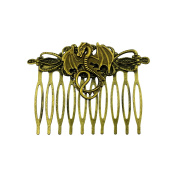 Goldtone Burnished Flying Fire Burning Dragon Serpent Lizard Hair Clip Comb