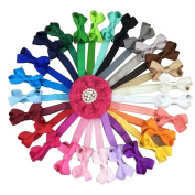 XIMA 26pcs Bow Headbands 6.4cm Ribbon Hair Bow with Baby Headbands for Hair Accessories
