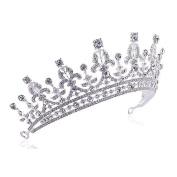OULII Wedding Tiara Rhinestone Decorated Bride Crown Hairbands Wedding Hair Accessories
