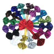 XIMA 16pcs 10cm Glitter Bow Headband,Girls Bow Hairband,Baby Headbands