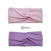 ZCollection Women Elastic Headband Fashion - Yoga - Sports - Travel. Super Comfortable. Chic Design & Quality - 15 colours ( Pack of 2 pcs ) Purple / Pink
