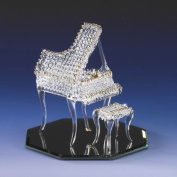 Collectible Miniature Grand Piano Lacework Spun Crystal 22k Gold Trimmed Accents Sparkles