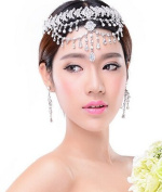 type23 Lady Hair Band Headdress Chain with Earrings Rhinestone Diamond Wedding Bridal Head Wear Jewellery Hairpieces