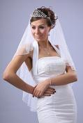 Bridal Wedding Veil Ivory 2 Tiers Fingertip Length 4mm Pearl Trim Edge