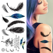 Supperb® Temporary Tattoos - Feather & Typographic