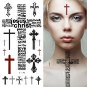 Supperb® Temporary Tattoos - Religious Christian Cross Tattoos