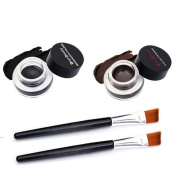 Canserin 2Pcs Waterproof Eye Liner Eyeliner Shadow Gel Makeup Cosmetic Brush Brown Black