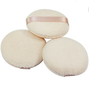 Akak Store 3 Pcs 8cm Pure Cotton Professional Round Body Face Loose Powder Puffs for Makeup or Baby Powder