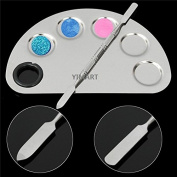 Yimart® Stainless Steel Makeup Palette Cosmetic Five Holes Mixing Pallete Spatula
