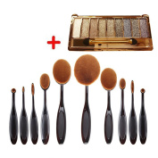 Aoohe Professional Soft Oval Toothbrush Makeup Sets and 10 Colour Glitter Eyeshadow Palette Kit
