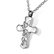HOUSWEETY Stainless Steel Cross with Flowers Cremation Urn Necklace Ash Memorial Jewellery